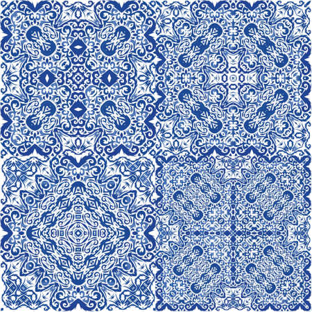 Decorative color ceramic azulejo tiles. Modern design. Set of vector seamless patterns. Blue folk ethnic ornaments for print, web background, surface texture, towels, pillows, wallpaper.