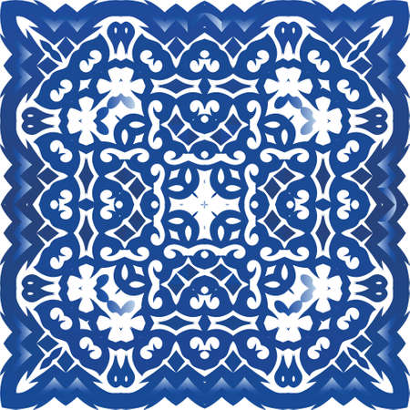 Traditional ornate portuguese azulejo. Geometric design. Vector seamless pattern flyer. Blue abstract background for web backdrop, print, pillows, surface texture, wallpaper, towels.