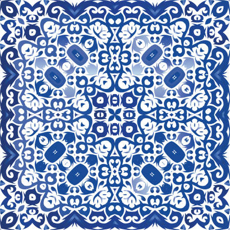 Ethnic ceramic tile in portuguese azulejo. Kitchen design. Vector seamless pattern illustration. Blue vintage ornament for surface texture, towels, pillows, wallpaper, print, web background.