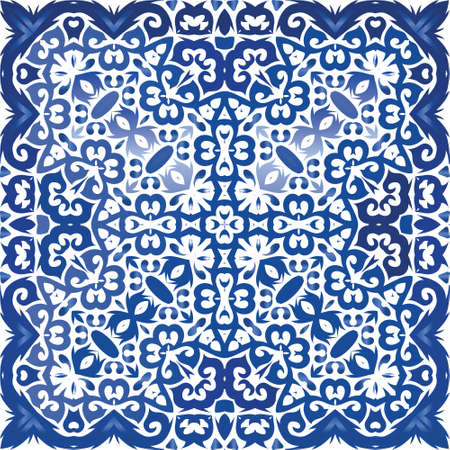 Portuguese vintage azulejo tiles. Vector seamless pattern poster. Bathroom design. Blue antique background for pillows, print, wallpaper, web backdrop, towels, surface texture.