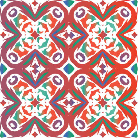 Traditional ornate mexican talavera. Creative design. Vector seamless pattern arabesque. Red abstract background for web backdrop, print, pillows, surface texture, wallpaper, towels.