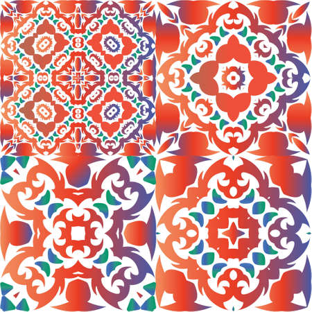 Ornamental talavera mexico tiles decor. Stylish design. Set of vector seamless patterns. Red gorgeous flower folk prints for linens, smartphone cases, scrapbooking, bags or T-shirts.