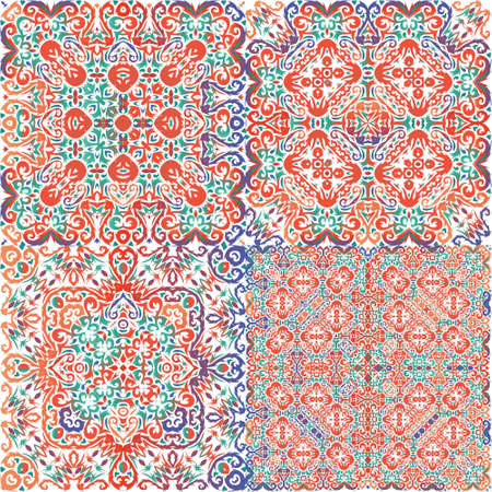 Traditional ornate mexican talavera. Geometric design. Set of vector seamless patterns. Red abstract backgrounds for web backdrop, print, pillows, surface texture, wallpaper, towels.