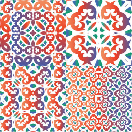 Mexican ornamental talavera ceramic. Stylish design. Kit of vector seamless patterns. Red vintage backdrops for wallpaper, web background, towels, print, surface texture, pillows.