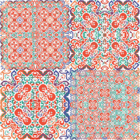 Decorative color ceramic talavera tiles. Set of vector seamless patterns. Creative design. Red folk ethnic ornaments for print, web background, surface texture, towels, pillows, wallpaper.