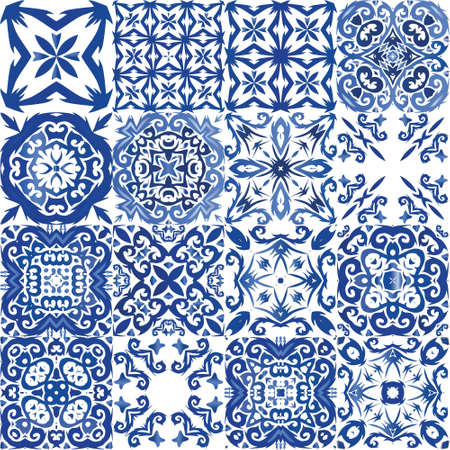 Ornamental azulejo portugal tiles decor.