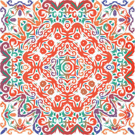 Decorative color ceramic talavera tiles. Vector seamless pattern theme. Graphic design. Red folk ethnic ornament for print, web background, surface texture, towels, pillows, wallpaper.