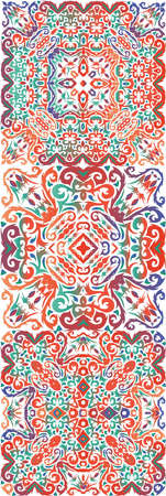 Antique talavera tiles patchworks. Hand drawn design. Kit of vector seamless patterns. Red mexican ornamental decor for bags, smartphone cases, T-shirts, linens or scrapbooking.
