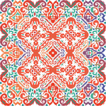 Traditional ornate mexican talavera. Vector seamless pattern elements. Geometric design. Red abstract background for web backdrop, print, pillows, surface texture, wallpaper, towels.