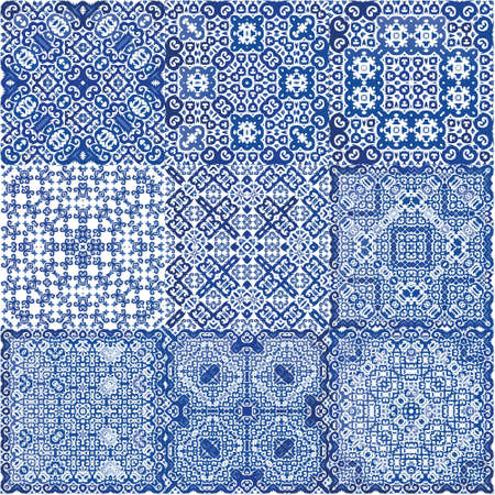 Traditional ornate portuguese azulejos. Set of vector seamless patterns. Creative design. Blue abstract backgrounds for web backdrop, print, pillows, surface texture, wallpaper, towels. Ilustración de vector