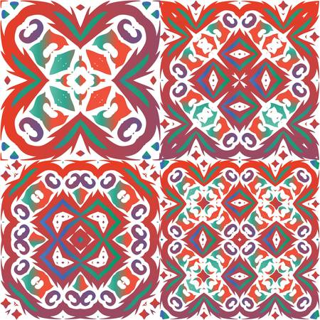 Antique ornate tiles talavera mexico. Minimal design. Set of vector seamless patterns. Red ethnic backgrounds for T-shirts, scrapbooking, linens, smartphone cases or bags.