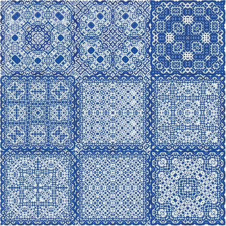 Ethnic ceramic tiles in portuguese azulejo. Set of vector seamless patterns. Modern design. Blue vintage ornaments for surface texture, towels, pillows, wallpaper, print, web background.
