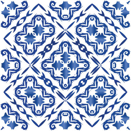 Portuguese vintage azulejo tiles. Minimal design. Vector seamless pattern template. Blue antique background for pillows, print, wallpaper, web backdrop, towels, surface texture.
