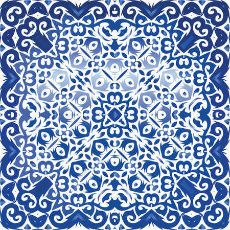 Antique portuguese azulejo ceramic. Bathroom design. Vector seamless pattern concept. Blue floral and abstract decor for scrapbooking, smartphone cases, T-shirts, bags or linens. Иллюстрация