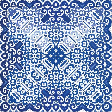 Portuguese ornamental azulejo ceramic. Colored design. Vector seamless pattern template. Blue vintage backdrop for wallpaper, web background, towels, print, surface texture, pillows.