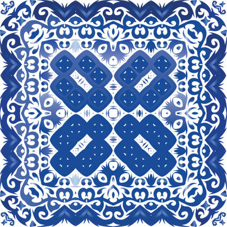 Portuguese vintage azulejo tiles. Original design. Vector seamless pattern illustration. Blue antique background for pillows, print, wallpaper, web backdrop, towels, surface texture. Иллюстрация