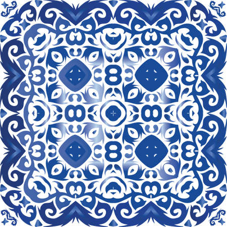 Antique portuguese azulejo ceramic. Vector seamless pattern concept. Modern design. Blue floral and abstract decor for scrapbooking, smartphone cases, T-shirts, bags or linens.