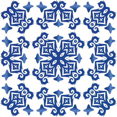 Ornamental azulejo portugal tiles decor. Stylish design. Vector seamless pattern elements. Blue gorgeous flower folk print for linens, smartphone cases, scrapbooking, bags or T-shirts. Иллюстрация