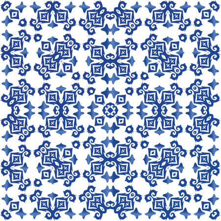 Ornamental azulejo portugal tiles decor. Vector seamless pattern concept. Kitchen design. Blue gorgeous flower folk print for linens, smartphone cases, scrapbooking, bags or T-shirts.