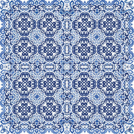 Portuguese vintage azulejo tiles. Bathroom design. Vector seamless pattern texture. Blue antique background for pillows, print, wallpaper, web backdrop, towels, surface texture.