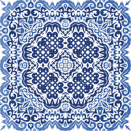 Portuguese vintage azulejo tiles. Geometric design. Vector seamless pattern template. Blue antique background for pillows, print, wallpaper, web backdrop, towels, surface texture. Иллюстрация