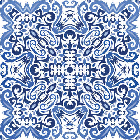 Ceramic tiles azulejo portugal. Vector seamless pattern watercolor. Fashionable design. Blue ethnic background for T-shirts, scrapbooking, linens, smartphone cases or bags.