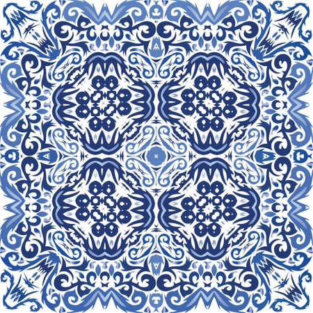Antique portuguese azulejo ceramic. Vector seamless pattern illustration. Kitchen design. Blue floral and abstract decor for scrapbooking, smartphone cases, T-shirts, bags or linens.