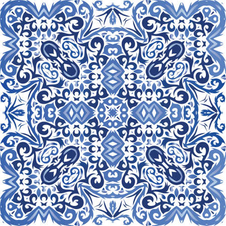 Ceramic tiles azulejo portugal. Vector seamless pattern illustration. Fashionable design. Blue ethnic background for T-shirts, scrapbooking, linens, smartphone cases or bags.