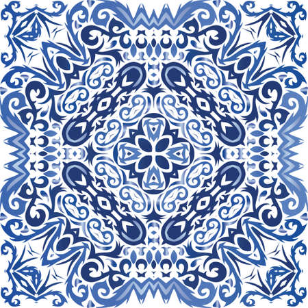 Ethnic ceramic tile in portuguese azulejo. Universal design. Vector seamless pattern flyer. Blue vintage ornament for surface texture, towels, pillows, wallpaper, print, web background.