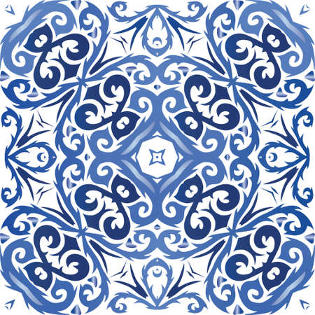 Portuguese vintage azulejo tiles. Vector seamless pattern texture. Minimal design. Blue antique background for pillows, print, wallpaper, web backdrop, towels, surface texture.