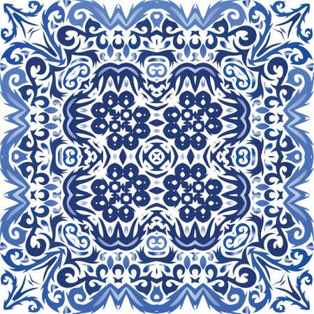 Traditional ornate portuguese azulejo. Hand drawn design. Vector seamless pattern frame. Blue abstract background for web backdrop, print, pillows, surface texture, wallpaper, towels.