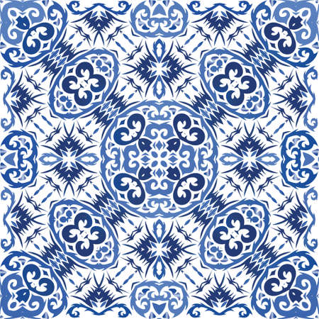 Portuguese vintage azulejo tiles. Universal design. Vector seamless pattern poster. Blue antique background for pillows, print, wallpaper, web backdrop, towels, surface texture.