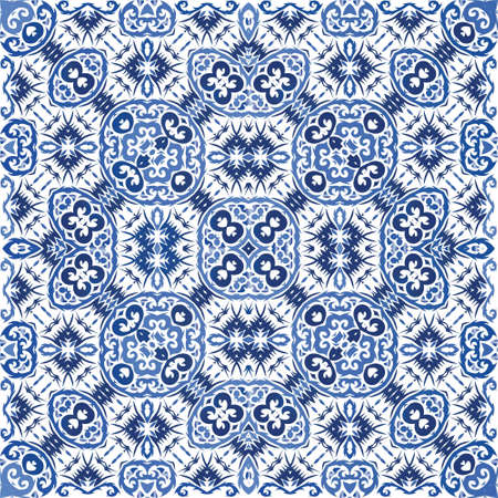 Ornamental azulejo portugal tiles decor. Colored design. Vector seamless pattern poster. Blue gorgeous flower folk print for linens, smartphone cases, scrapbooking, bags or T-shirts.