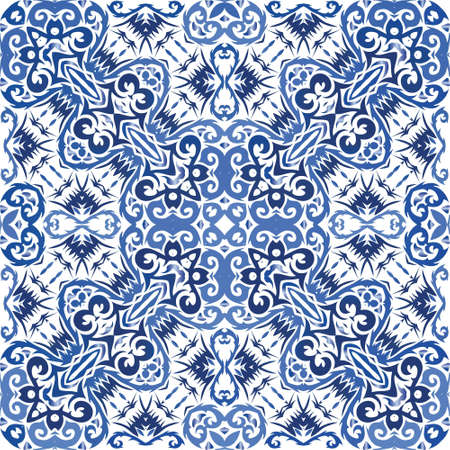 Decorative color ceramic azulejo tiles. Vector seamless pattern collage. Universal design. Blue folk ethnic ornament for print, web background, surface texture, towels, pillows, wallpaper. Иллюстрация