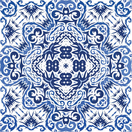 Antique portuguese azulejo ceramic. Vector seamless pattern texture. Fashionable design. Blue floral and abstract decor for scrapbooking, smartphone cases, T-shirts, bags or linens.