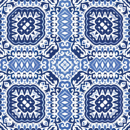 Portuguese ornamental azulejo ceramic. Original design. Vector seamless pattern flyer. Blue vintage backdrop for wallpaper, web background, towels, print, surface texture, pillows.