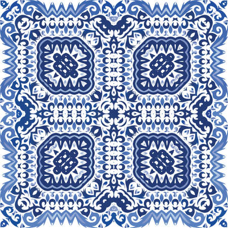 Antique azulejo tiles patchwork. Hand drawn design. Vector seamless pattern theme. Blue spain and portuguese decor for bags, smartphone cases, T-shirts, linens or scrapbooking. Иллюстрация