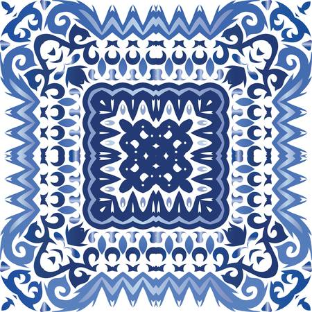 Traditional ornate portuguese azulejo. Minimal design. Vector seamless pattern illustration. Blue abstract background for web backdrop, print, pillows, surface texture, wallpaper, towels.