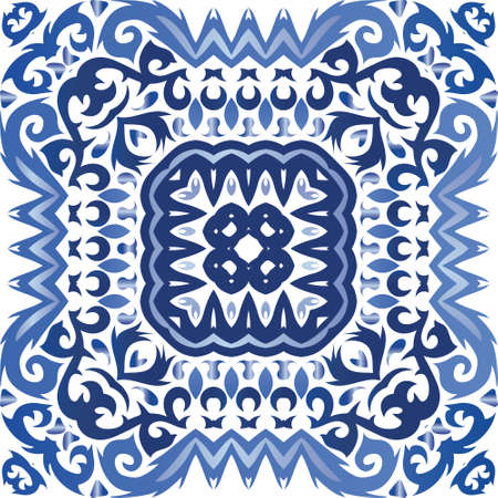 Antique portuguese azulejo ceramic. Vector seamless pattern illustration. Original design. Blue floral and abstract decor for scrapbooking, smartphone cases, T-shirts, bags or linens. Иллюстрация