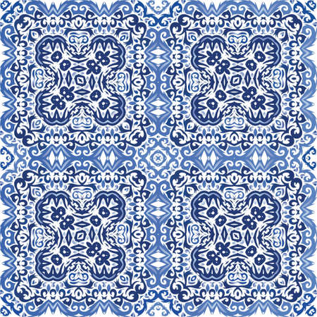 Portuguese ornamental azulejo ceramic. Kitchen design. Vector seamless pattern concept. Blue vintage backdrop for wallpaper, web background, towels, print, surface texture, pillows.