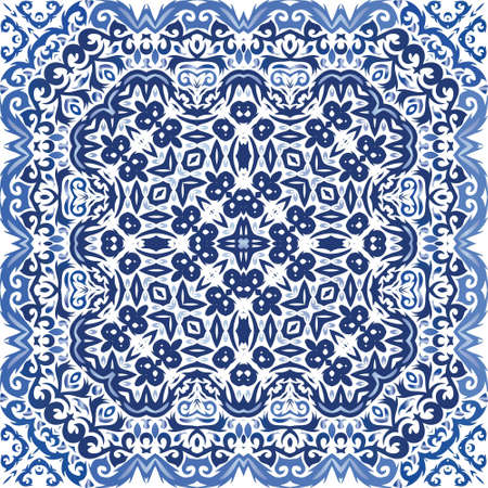 Decorative color ceramic azulejo tiles. Stylish design. Vector seamless pattern illustration. Blue folk ethnic ornament for print, web background, surface texture, towels, pillows, wallpaper.