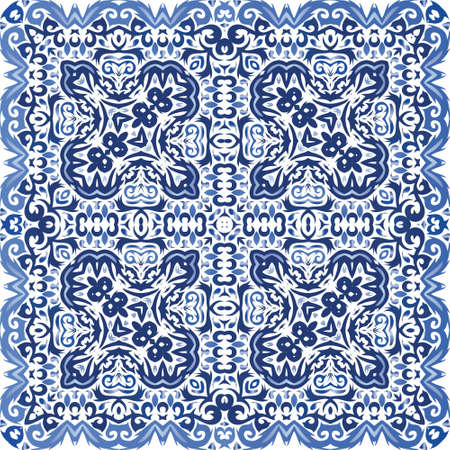 Antique portuguese azulejo ceramic. Stylish design. Vector seamless pattern frame. Blue floral and abstract decor for scrapbooking, smartphone cases, T-shirts, bags or linens.