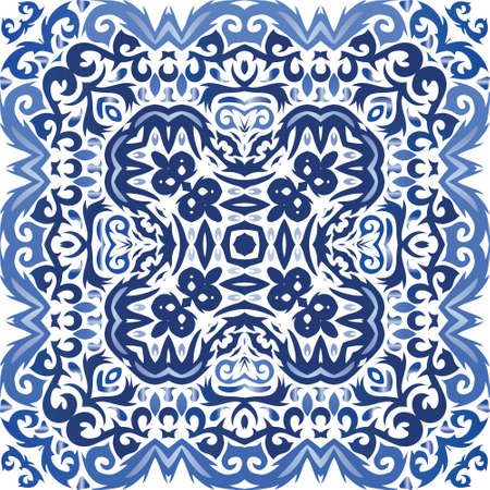 Decorative color ceramic azulejo tiles. Graphic design. Vector seamless pattern collage. Blue folk ethnic ornament for print, web background, surface texture, towels, pillows, wallpaper.