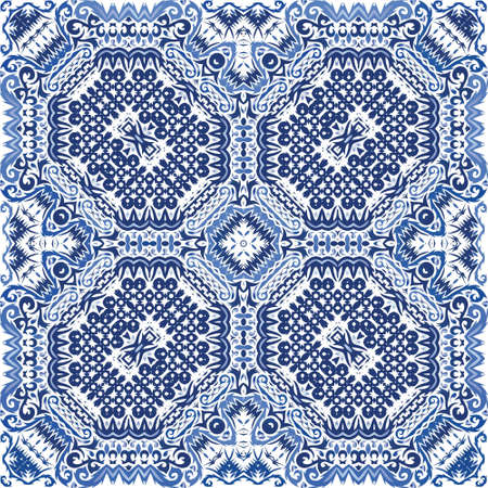 Antique portuguese azulejo ceramic. Universal design. Vector seamless pattern collage. Blue floral and abstract decor for scrapbooking, smartphone cases, T-shirts, bags or linens. Иллюстрация