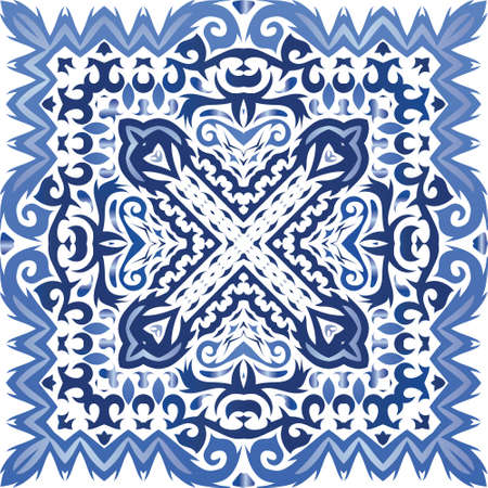 Portuguese vintage azulejo tiles. Vector seamless pattern elements. Graphic design. Blue antique background for pillows, print, wallpaper, web backdrop, towels, surface texture.