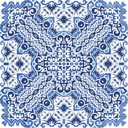 Ornamental azulejo portugal tiles decor. Vector seamless pattern frame. Original design. Blue gorgeous flower folk print for linens, smartphone cases, scrapbooking, bags or T-shirts. Иллюстрация