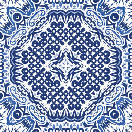 Antique portuguese azulejo ceramic. Vector seamless pattern collage. Stylish design. Blue floral and abstract decor for scrapbooking, smartphone cases, T-shirts, bags or linens.