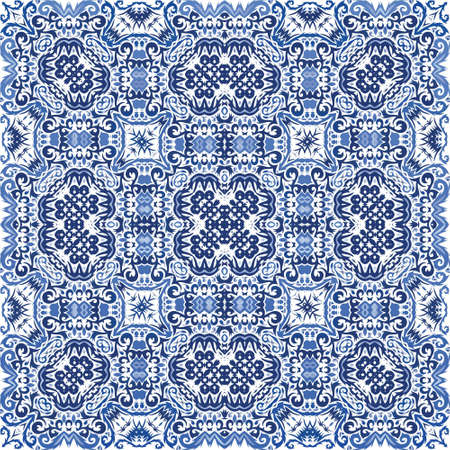 Portuguese vintage azulejo tiles. Vector seamless pattern theme. Original design. Blue antique background for pillows, print, wallpaper, web backdrop, towels, surface texture. Иллюстрация
