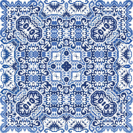 Antique portuguese azulejo ceramic. Kitchen design. Vector seamless pattern arabesque. Blue floral and abstract decor for scrapbooking, smartphone cases, T-shirts, bags or linens. Иллюстрация