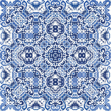 Portuguese vintage azulejo tiles. Vector seamless pattern texture. Fashionable design. Blue antique background for pillows, print, wallpaper, web backdrop, towels, surface texture.